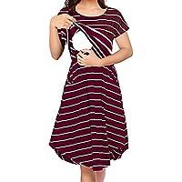 74eef570425 Larenba Womens Long Sleeve Stripe Maternity Nursing Dress for Breastfeeding