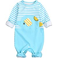 HAPPYMA Newborn Baby Boy Girl Clothes Funny Elephant Jumpsuit Stripe Romper Long Sleeve Cotton Outfit