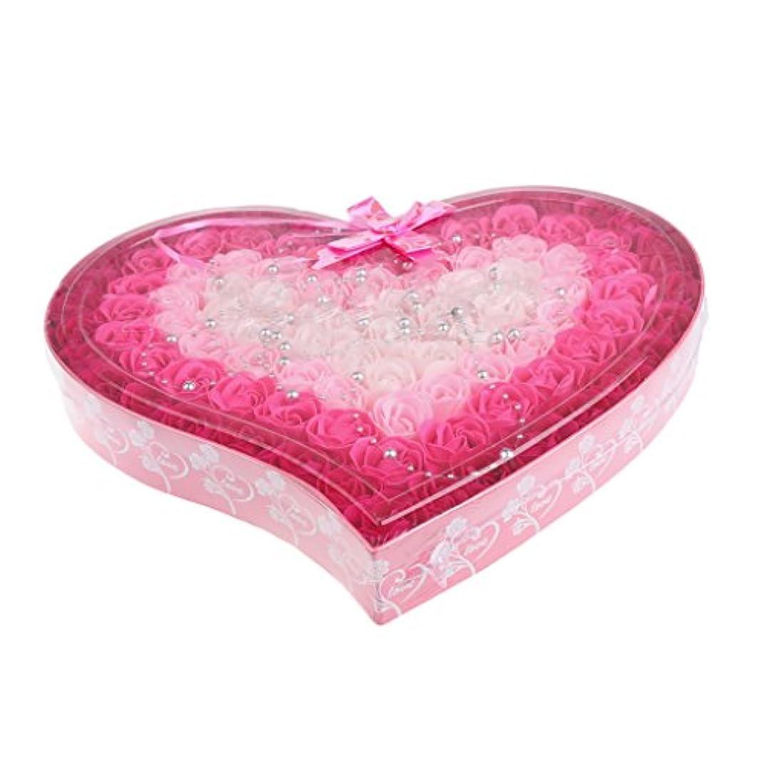 強風金銭的な口述Hellery 母の日のための100個の石鹸の花の心の形のギフトボックス - ピンク