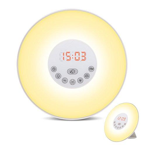 【改善品】目覚まし時計 ベッドサイトライト 大音量 スヌーズ機能 日の出&日没再現 12H/24H 常夜灯 FM ラジオ機能(76?108Hz) 6種自然音 アラームクロック Wake-Up Light 6色変換ウェイクアップライト 自分用はもちろん、プレゼントにも最適(アンテナ付き)