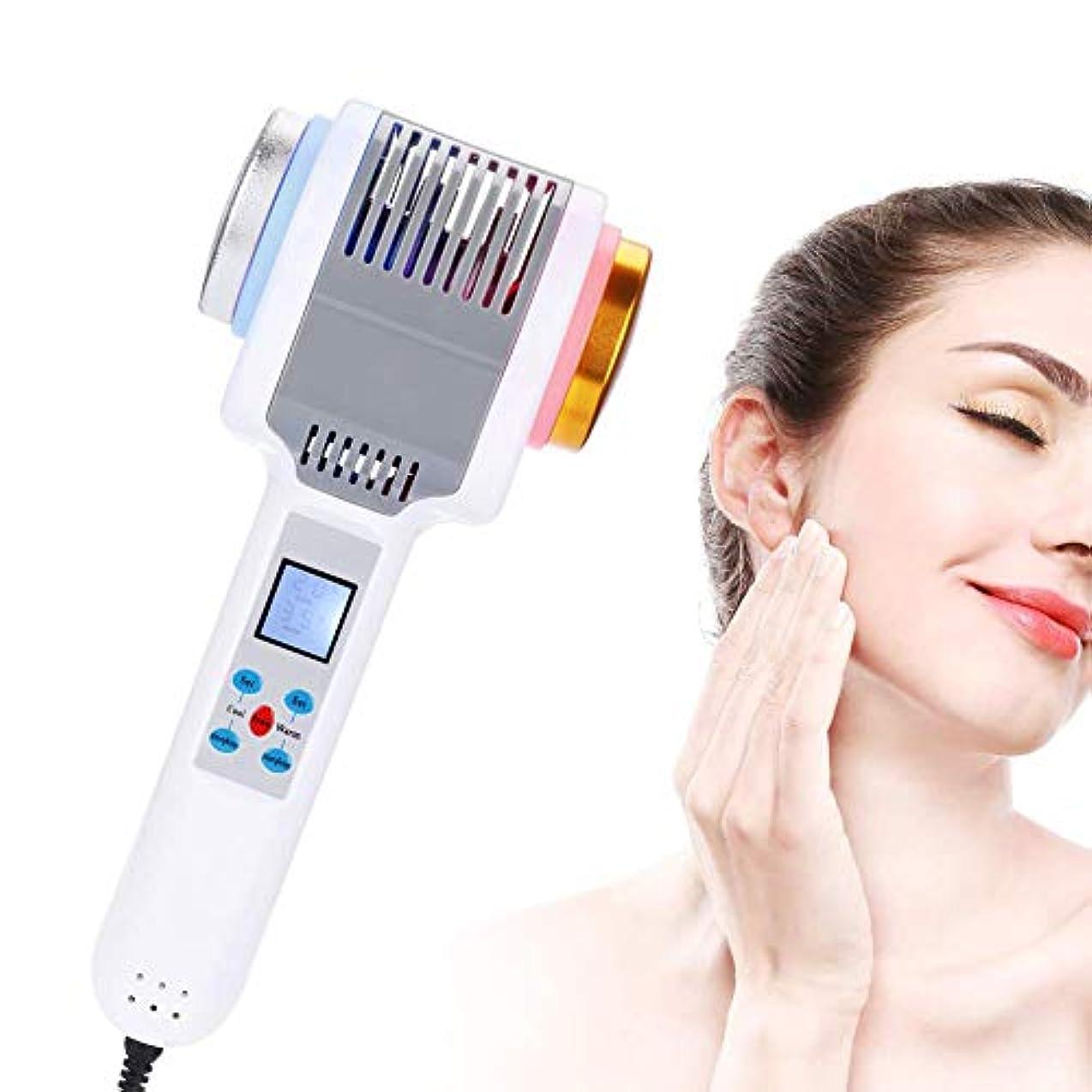 煙突すずめ戦闘光子療法機ホット&コールドハンマーアイスファイアダブルヘッド振動マッサージ美容機器削除しわ明るい顔の引き締め美容若返りツール