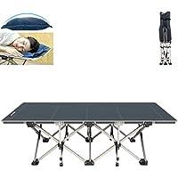 FLAMROSE 特許取得の頑丈な折り畳みアウトドアキャンプベッド – 26本の頑丈な補強と10の補強ポイント – 荷重量 180㎏ – 枕と収納バッグ付き