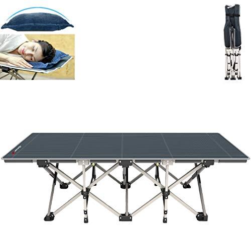 FLAMROSE 特許取得の頑丈な折り畳みアウトドアキャンプベッド – 26本の頑丈な補強と10の補強ポイント – 枕と収納バッグ付き – キャンプ用品