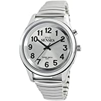 5 Senses I English Silver-Tone Alarm Day-Date Men Talking Watch 1152A