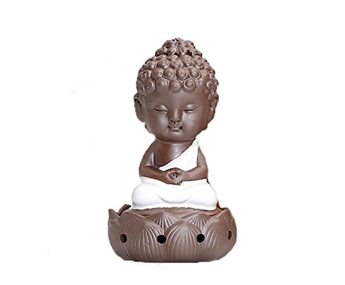 いろいろ横に文明香炉 陶器 お香 ホルダー 巻香 お香立て付き セラミック 癒やし仏 飾り香炉 (ホワイト)