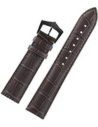 深い茶色イタリアのカーフスキントーン・オン・トーンの縫い目のブラックピンバックルで18ミリメートルの高級革交換用時計ブレスレット