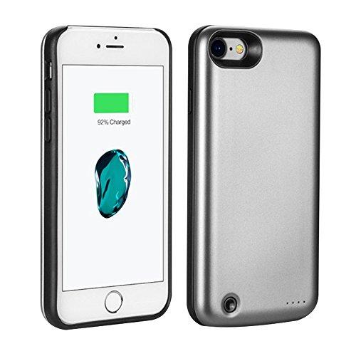 PZX 3800mAh 超大容量 軽量 バッテリー内蔵ケース iPhone7 充電操作可能 バッテリーケース 急速充電 ケース型バッテリー iPhone7, グレー