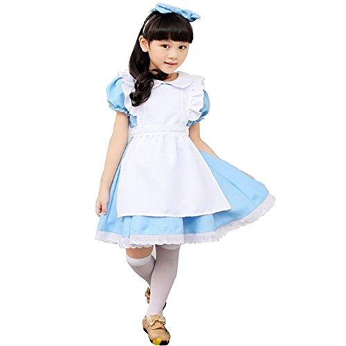 (レブール) 不思議の国のアリス ハロウィン キッズドレス 子供用エプロン 付き ワンピース テーマパーク ハロウィン 衣装 (L)