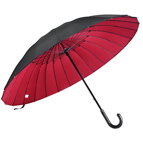 NARPRO 長傘 高強度24本傘骨 ゴルフ用長傘 梅雨対策 晴雨兼用 UVカット 革新な2重構造生地 420T撥水加工 高強度グラスファイバー傘骨 耐強風 軽量 プレゼント 父の日 大型 130センチ 男女兼用 収納ケース付