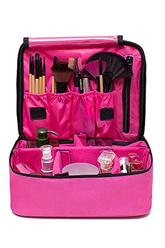 扇動理由豆[FUPUSUN] メイクボックス コスメポーチ 化粧ポーチ メイクポーチ 持ち運び 大容量 仕切り (ピンク)