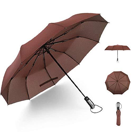 lcfun おりたたみ傘 メンズ 折り畳み傘 自動開閉 折りたたみ傘 レディース 折りたたみ傘 ワンタッチ自動開閉 超撥水 耐風傘 折り畳み 10本骨 収納ポーチ付 晴雨兼用 ブラウン