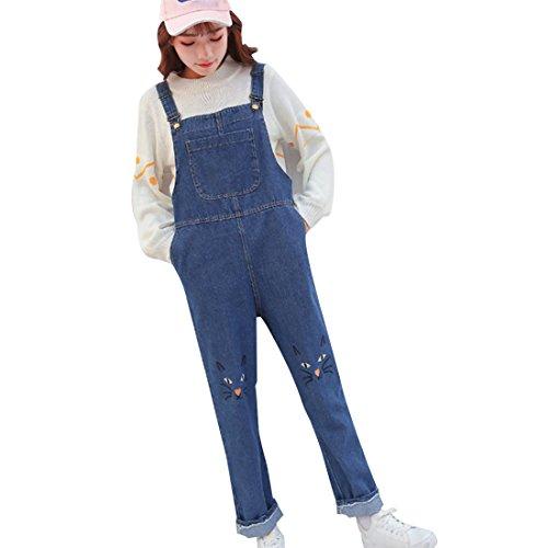 [해외](보라 - 키키) Bole-kk 뽀빠이 바지 여성 데님 바지 청바지 데님 바지 출산 큰 고양이 무늬/(Bora - Kiki) Bole - kk Salopette Pants Women`s Denim Overall Jeans Denim Pants Maternity Large Size Cat Pattern