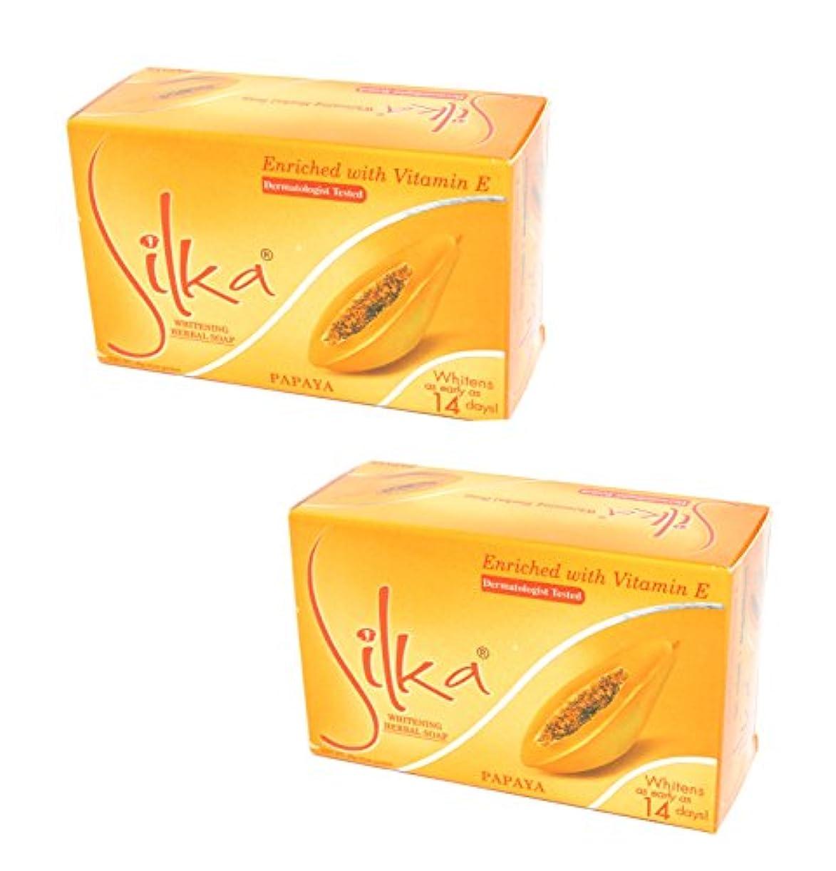 フルート特殊敵対的90g×2個セット シルカ パパイヤソープ Silka papaya soap