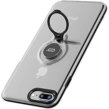 iPhone 8 Plus/iPhone 7 Plus対応保護ケース、リングホルダー付きキックスタンド機能、iPhone 8 Plus / 7 Plus用360度回転リングホルダーグリップケース超薄型薄型ハードカバー(透明)