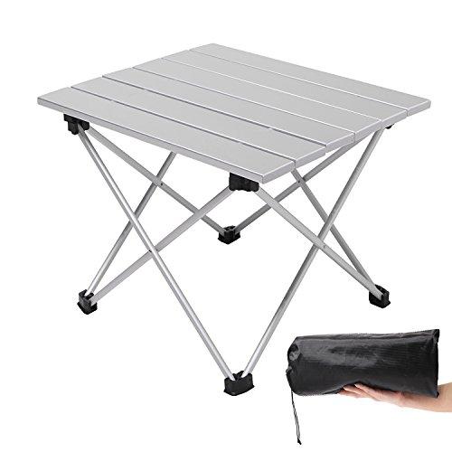 Moon Lenceアウトドアテーブル キャンプ コンパクト アルミ製 折りたたみ式 超軽量 ロールテーブル 耐荷重23kg 収納袋つき シルバー(S/Mサイズ)