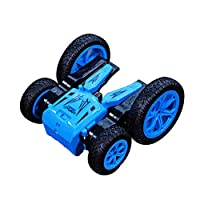 JJRC Q71 RC両面回転車電気4WDオフロードRCスタントカー車2.4Ghzレーシングスロットカー7.5Mph 360°ローリング回転回転(バッテリー含まず)玩具(Blue)