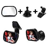 サクションカップクリップ、エッセンシャルカーシートアクセサリー、飛散防止、プレミアム品質とバックシート用ベビー車のミラー、赤ちゃんの車のミラー