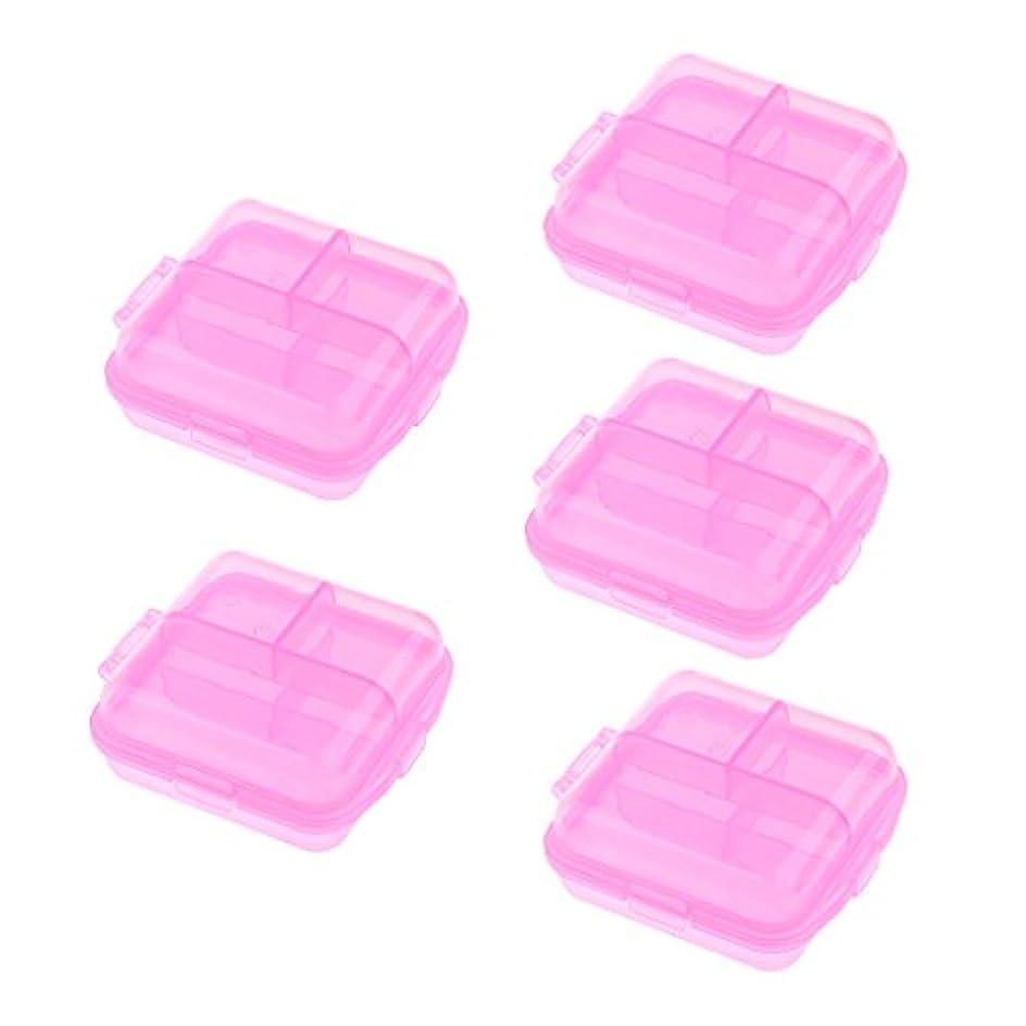 カロリー冷ややかな驚いた5個 ピルケース ピルボックス 小物入り 収納用 オーガナイザー ディスペンサーケース 3色選べる - ピンク