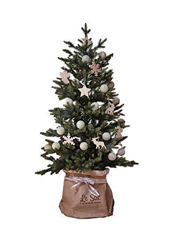 GROOVY OUTSTYLE クリスマスツリー ブルージュ オーナメントセット 鉢カバー付き ナチュラル Bruges おしゃれ 北欧 リアル 樹木 組立簡単 ツリー (ホワイト, 150cm)