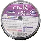 FINE CD-R  700MB 1-52倍速10枚 データ・音楽のパソコンでの記録用・スピンドルケース入り・インクジェットプリンタでの印刷可能 FICR52X10P