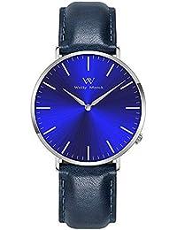 WM ウオッチ メンズ 腕時計 42mm 交換可能本革バンド 20mmブルー文字盤 カコイイ ファション プレゼント (ブルー)