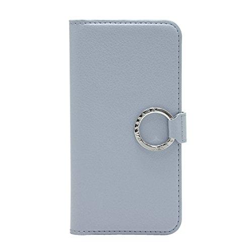 [CASEBANK] リング付き 手帳 ケース iPhone6/6s 4.7インチ 落下防止 実用新案取得済 スマホ カバー (ブラック) Y-RING-01-BlueGrey