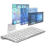 ワイヤレスキーボード bluetooth keyboardブルートゥースキーボード 高級感いっぱい無線ブルートゥースキーボード 簡単ペアリング コンパクト 軽量 iOS Windows Android iPhone ノートPC 対応 (シルバー2)