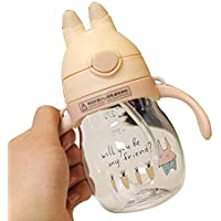 GRT ストローマグ ベビーマグ かわいい お出かけ 漏れない ハンドル付き 耐熱 軽量 練習 子供用 ポータブル 水筒 320ml (ウサギ)