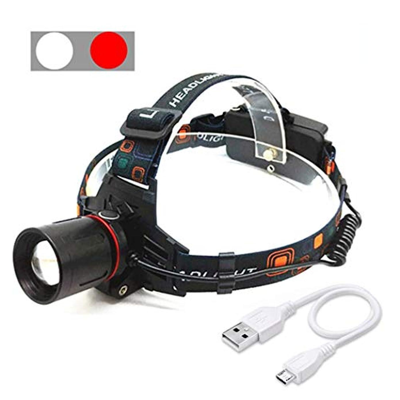 豊かにするスクラップブック発表するHSBAIS ヘッドライト LED、USB 充電式 ヘッドランプ ズーム機能 高輝度白と赤のライト両手が自由 ヘルメットライト,black