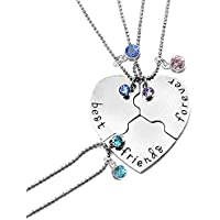 LINKY BFF Set of 3 Best Friends Forever Necklace,Birthstone Crystals on Puzzle Heart Pendants