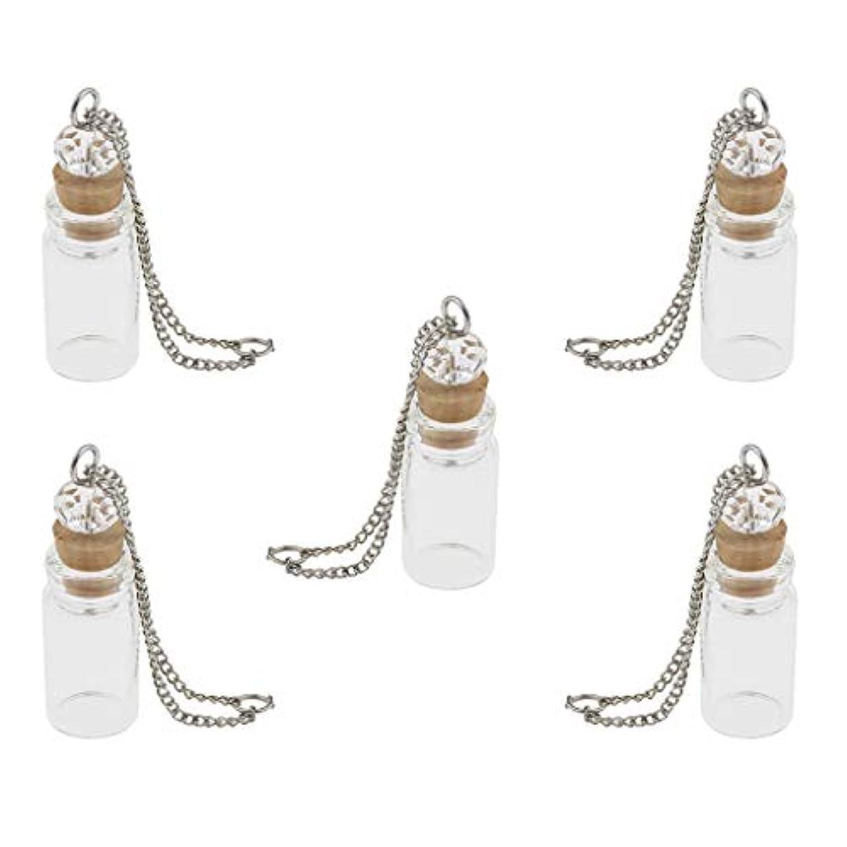 ユーモア効能戦士IPOTCH 5個 ミニガラス瓶 ネックレス ペンダント バイアル DIY 手作りプレゼント 手芸用 2タイプ選べ - 1mlクリア