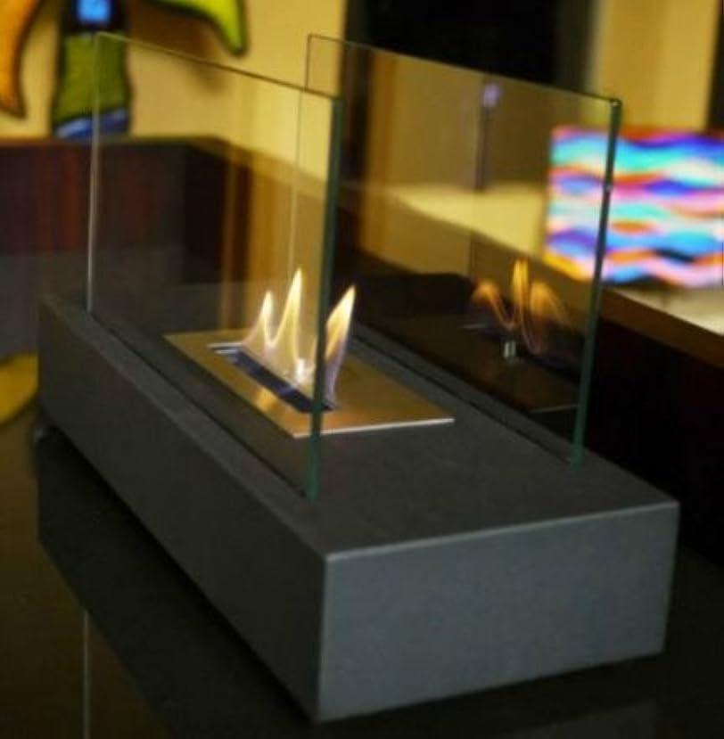 食堂行商人コンパクトTabletop Fireplace、バイオエタノール – 8.5インチ、強化ガラス、ブラック