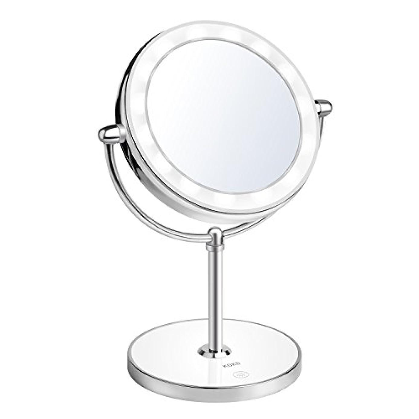 再生お肉補うKDKD LED光る ライト付き化粧鏡 回転式 1X 及び7倍率ミラー タッチ制御で調光可能 ライト付きメイクアップミラー コードレス 卓上鏡  スタンドミラー 充電式両面化粧鏡 銀色