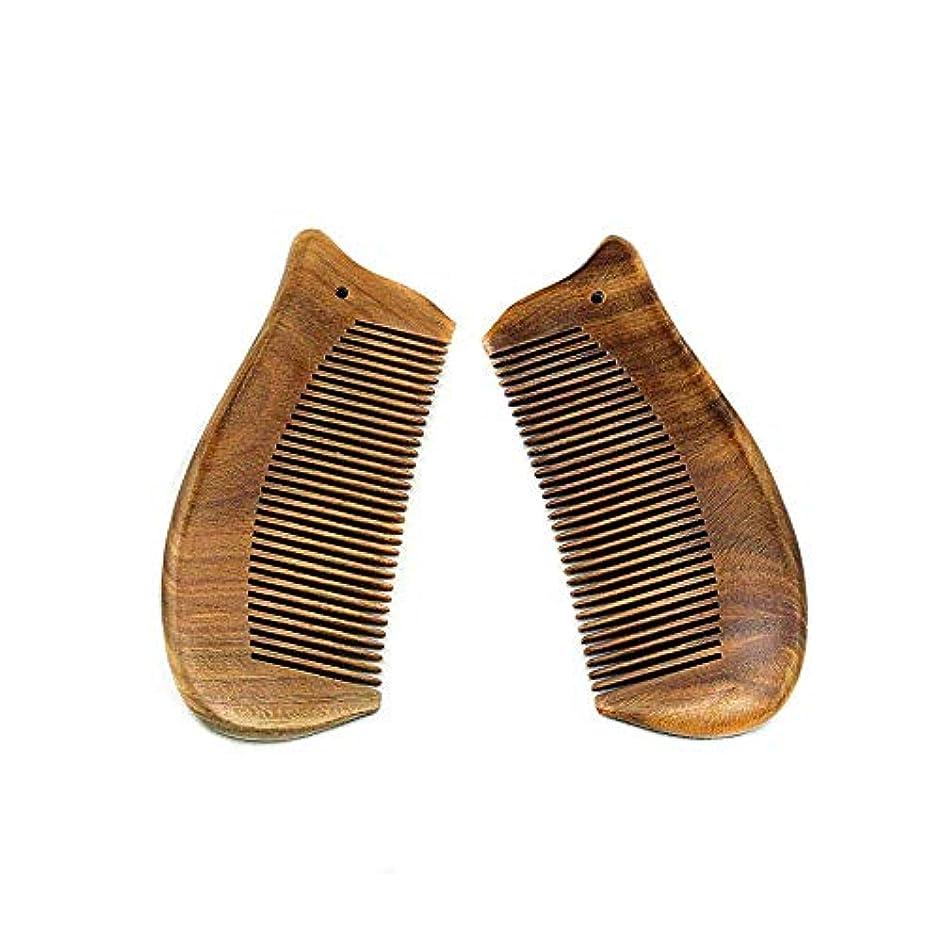 王女不幸傾いた新ナチュラルグリーンサンダルウッド魚の形のくし女性のための静的な手作りの木製くし ヘアケア
