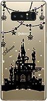 ギャラクシーノート8 ケース Galaxy Note8 SC-01K SC01K docomo au カバー スワロケース 名入れ キラキラ デコケース ブラックプリント ナイト・キャッスル シンデレラ城