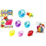 【光る玩具】 光るコマ クリスタルカラー5色アソ-ト25個入り  / お楽しみグッズ(紙風船)付きセット [おもちゃ&ホビー]