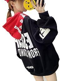BeiBang(バイバン) レディース フード パーカー ゆったり 春 オシャレ 韓国ファッション トレーナー カワイイ トップス
