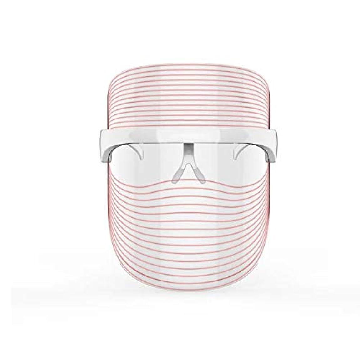 臨検誘発する肌寒い3色LEDマスクフェイス&ネックネオン白熱LEDフェイスマスク電動フェイシャルスキンケアフェイススキンビューティー