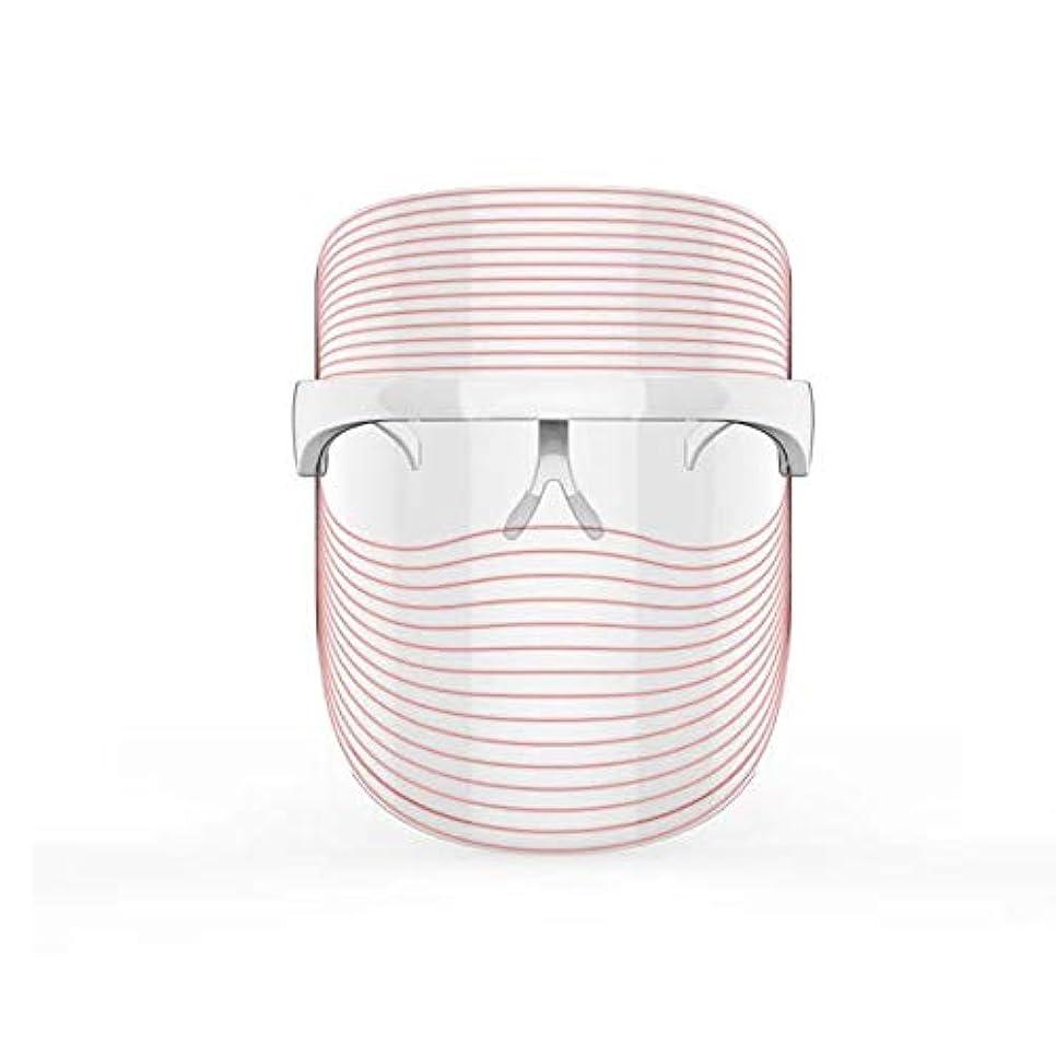 悔い改めるアセ汚染する3色LEDマスクフェイス&ネックネオン白熱LEDフェイスマスク電動フェイシャルスキンケアフェイススキンビューティー