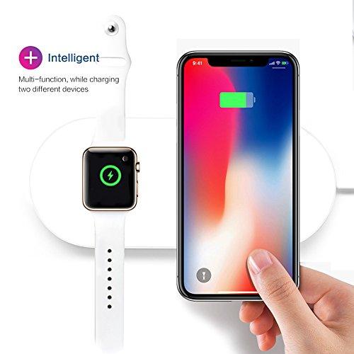 Apple watch & iPhone 充電スタンド 2in1充電スタンド Qi 急速ワイヤレス充電器 同時充電器 無線充電スタンド 多機能充電スタンド 卓上 急速 高速充電Apple Watch Series 2 /Series 3 とiPhone X iPhone 8 など iPhone対応 SAMSUNG S6/S6 edge/S6 edge /Note 5/S7/S7 edge/S8/S8 /Note 8 おしゃれ