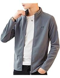 Fly Year-JP メンズ長袖ソリッドフリーススタンドカラージャケットコート