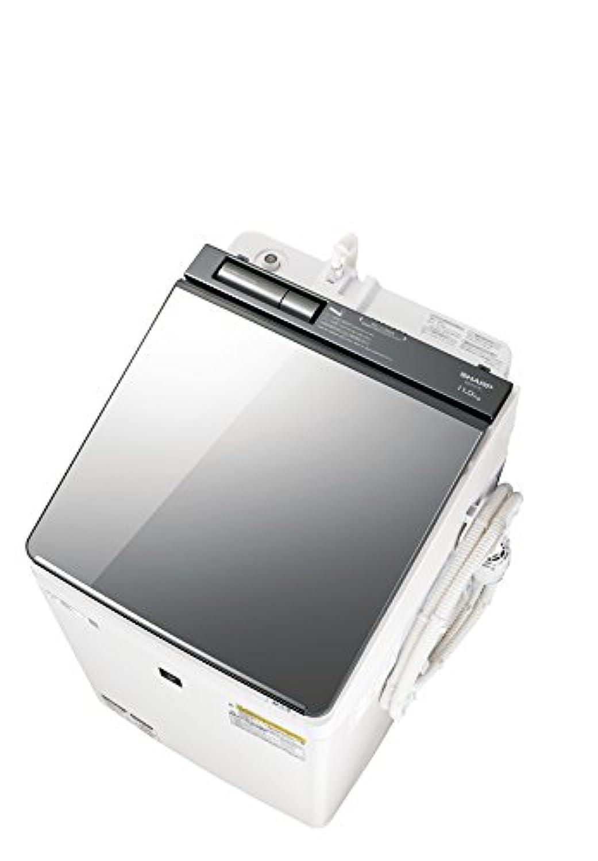 シャープ SHARP (超音波ウォッシャー搭載) タテ型洗濯乾燥機 ハーフミラーガラストップ ダイヤカット穴なし槽 シルバー系 ES-PU11C-S
