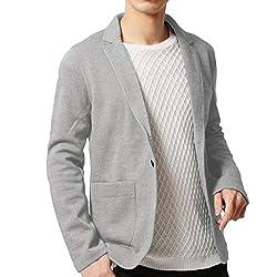 KMAZN メンズ テーラードジャケット カジュアル トップス 無地 長袖 キレイめ ジャケット ファッションスーツ (ライトグレー L)
