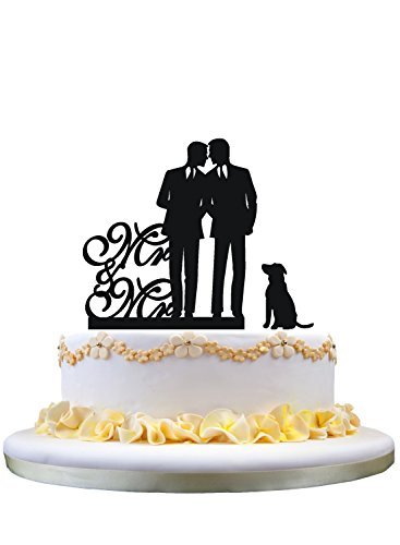 Gay wedding cake topper with dog mr and mr cake topper [並行輸入品]