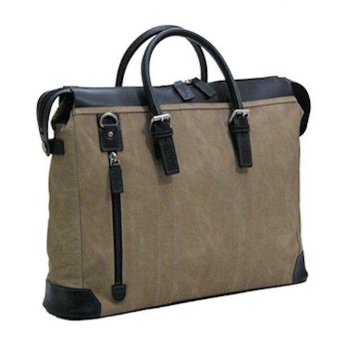 [豊岡木和田鞄] 織人 縦ファスナー二本手 ビジネスバッグ ベージュ 5966-BE