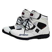 ショートブーツ メンズ オートバイ靴 バイク靴 バイク用レーシングブーツ ライディングシューズ レーシングブーツ 分厚いプロテクショロードブーツ スポーツブーツ (26.5-27cm)43サイズ ホワイト