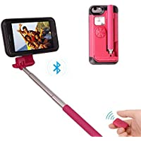 JP iphone ケース Iphone7plus/Iphone8 plus (5.5インチ)自撮り棒付き 自撮り一体型ケース 収納便利 自画撮り 設定不要 電池不要 セルカ棒 カバー 有線 手元にシャッターボタン付き (赤い)