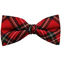 Boys' Red Christmas Plaid Adjustable Pre-Tied Banded Bow Tie