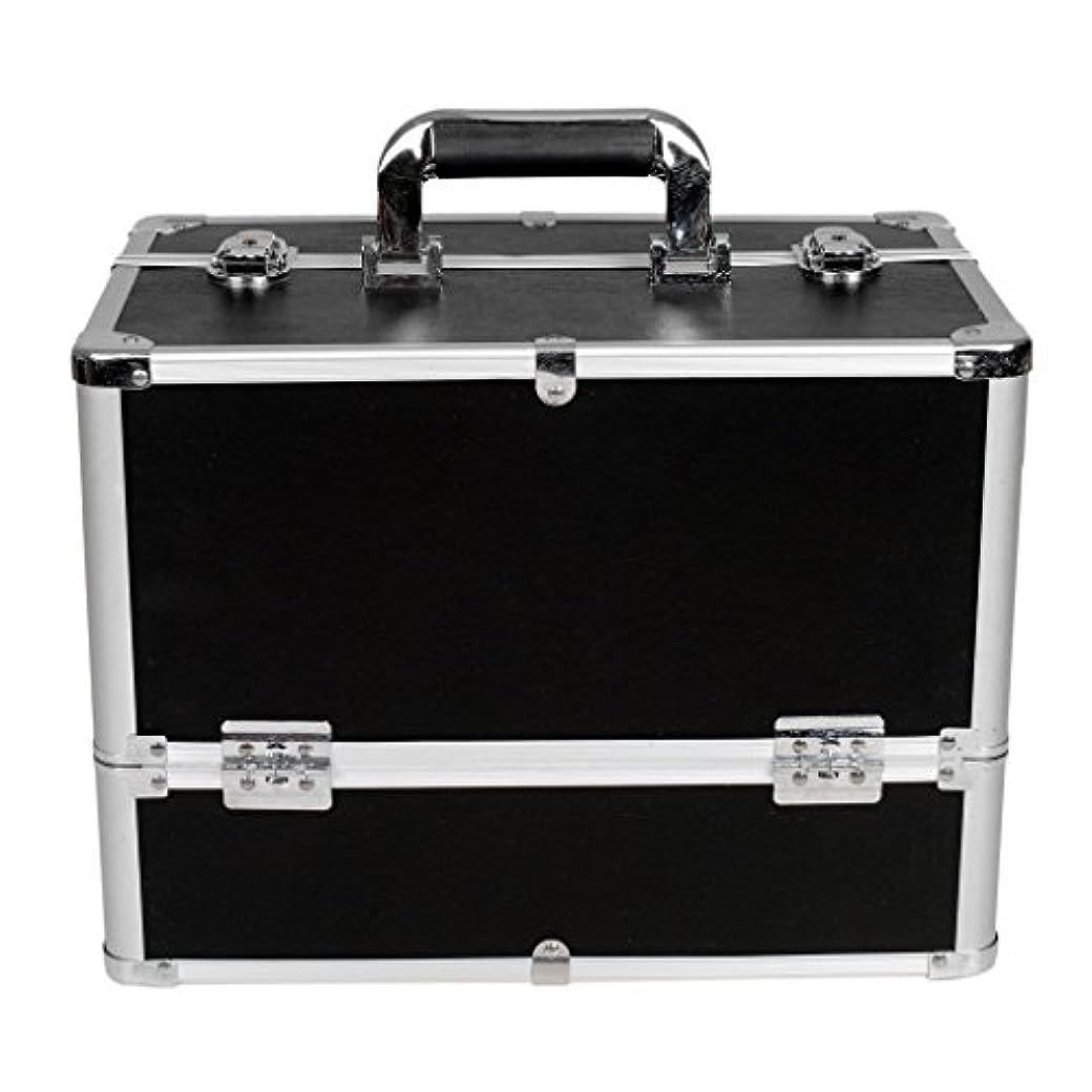 ハミングバードスコア屋内[プロ仕様]Hapilife メイクボックス 大容量 6つトレイ 幅37cm ネイル ジュエリー ドライヤー アクセサリー シューケア用品 収納ケース ブラック