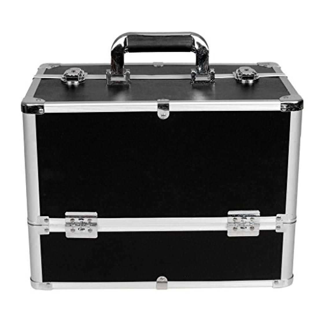 個人的に被害者医薬品[プロ仕様]Hapilife メイクボックス 大容量 6つトレイ 幅37cm ネイル ジュエリー ドライヤー アクセサリー シューケア用品 収納ケース ブラック